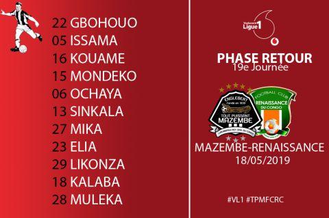 Composition TP Mazembe contre FC Renaissance